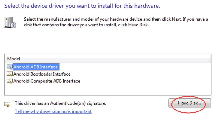 Install ADB driver on Windows 10
